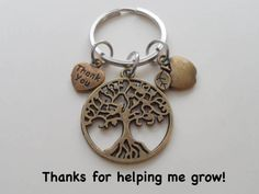 Bronze Tree Keychain Appreciation Gift Keychain Teacher