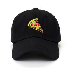 Pizza Hat, Black Dad, Pink Black, Embroidered Caps, Cotton Hat, Dad Caps, Hat Sizes, Hats For Women, Caps Hats