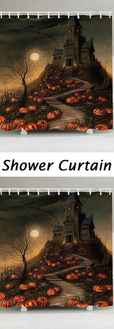 halloween decor:Pumpkin Castle Print Shower Curtain