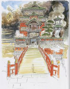 A view of the bathhouse for spirits' facade from before crossing the bridge. Production art from Spirited Away (2001) http://livlily.blogspot.com/2012/04/spirited-away-2001-production-art.html