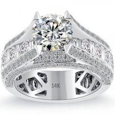 3.40 Carat H-VS1 Certified Natural Round Diamond Engagement Ring 14k White Gold - Liori Exclusive Engagement Rings - Engagement - Lioridiamonds.com