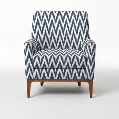 NEW! Sloan Chair upholstered in blue lagoon chevron from west elm