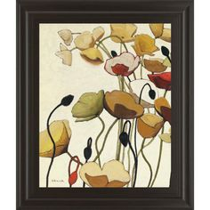 """Classy Art 22 in. x 26 in. """"Pavots Ondule"""" by Shirley Novak Framed Printed Wall Art-8028 - The Home Depot"""