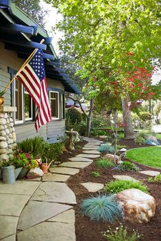 ABOVE: Typical of a California Bungalow, the house has a strong horizontal orientation emphasized by a low-slung roof and shallow dormer.All photos by Jaimee Bungalow Landscaping, Front Yard Landscaping, Landscaping Ideas, Backyard Patio, Patio Ideas, Outdoor Ideas, Backyard Ideas, Outdoor Decor, Herb Garden Design