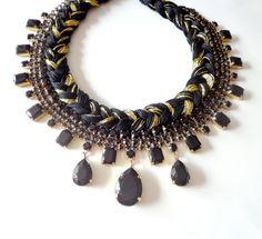 Statement braided rhinestone / crystal bib necklace - black and gold