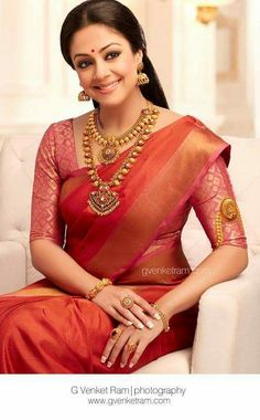 South Indian bride. Gold Indian bridal jewelry.Temple jewelry. Jhumkis. Red silk kanchipuram sari.Tamil bride. Telugu bride. Kannada bride. Hindu bride. Malayalee bride.Kerala bride.South Indian wedding.Jyotika.