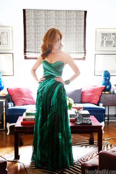 The designer stands on her zebra rug in her living room.Intrigued by Lindsey Coral Harper's malachite gown? Well, she also collects the coveted stone!
