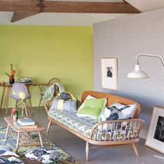 Sassy colour mix for this mid-century decor.  The Ercol sofa takes centre stage . . .