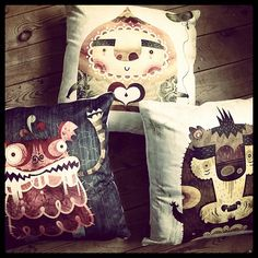 I seriously want these for the couch. :)        Character cushions via clickforart.com in the UK