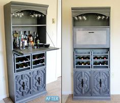 turn an old book shelf into a bar! Perfect solution for behind our bar Diy Furniture Projects, Bar Furniture, Repurposed Furniture, Furniture Makeover, Home Projects, Hutch Makeover, Repurposed Items, Diy Home Bar, Modern Home Bar