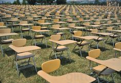 """6/20/12: Today the College Board placed 857 empty school desks on the National Mall to represent """"the number of students who are dropping out every hour of every school day."""""""
