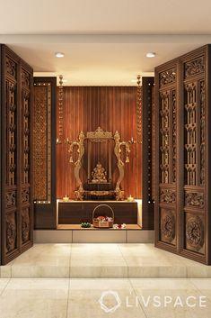 simple pooja room door design-mandir-double door-wooden carved door-sliding door Pooja Room Door Design, Bedroom Door Design, Home Room Design, Home Interior Design, Modern Interior, Temple Room, Temple Design For Home, Mandir Design, Puja Room
