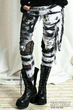 Guerra, calça rasgada, preto e branco, calça preta e branca, coturnos, bota cano médio,