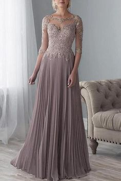 Long Applique Mother of the Bride Dress with sleeves – Angrila Mother Of The Bride Dresses Long, Mother Of Bride Outfits, Mothers Dresses, Long Mothers Dress, Mob Dresses, Dresses With Sleeves, Wedding Dresses, Half Sleeves, Dresses Online