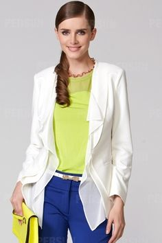 Pure Color Blazer Flouncing Front Lapel Design [FFBI0256]- US$ 72.99 - PersunMall.com
