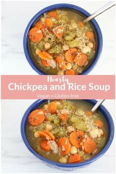 This hearty and healthy vegan soup recipe will warm you up from the inside out. Chickpea and Rice soup is naturally gluten-free and so easy to make you won't believe it. You have to try this plant-based soup recipe this winter!