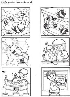 Secuencias Temporales para recortar y colorear! Spring Activities, Activities For Kids, Bees For Kids, Hebrew School, Story Sequencing, Bee Crafts, Picture Story, Bee Theme, Bugs And Insects