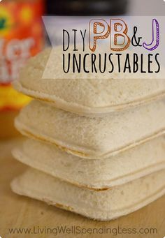 DIY PB&J Uncrustables. I love this concept of an easy, nutritious sandwich on-the-go. I would substitute soft whole wheat bread and high quality PB & J for a healthier option. Via Living Well Spending Less™ (easy homemade snacks for school) Pb And J Sandwiches, Deli Sandwiches, Freezer Cooking, Freezer Meals, Batch Cooking, Frugal Meals, Budget Meals, Easy Meals, Beste Burger