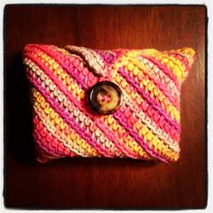 Soap Cozy: washcloth with soap wrapped inside! Crochet.