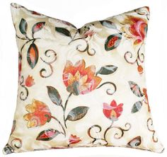 Floral Decorative Throw Pillow :: Colorful Bohemian Yellow Orange Pink Cream 14x18 http://www.etsy.com/listing/88105876/floral-decorative-throw-pillows-colorful
