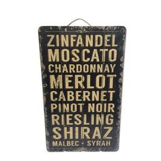 wBordeaux Collection 25'' Wood Wine Names Wall Decor