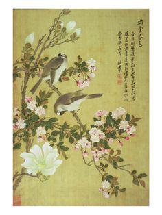 Crabapple, Magnolia and Baitou Birds Lámina giclée por Ma Yuanyu en AllPosters.es