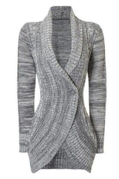 Stylish Shawl Collar Long Sleeve Slimming Women's Cable Cardigan