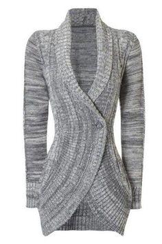 Stylish Shawl Collar Long Sleeve Slimming Women's Cable Cardigan