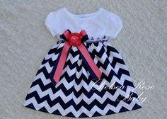 Gorgeous Navy and Coral Chevron Baby and Toddler Dress, Baby Girl Dress, Flower Girl Dress, Designer Summer Dress, Girls Dress