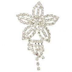Silver-plated Flower Shape Tassel Rhinestone Brooch Silver   favwish - Jewelry on ArtFire