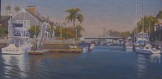 """Dialed In,"" 8""x16"" oil painting by John White. The Long Beach neighborhood known as Naples is like a movie set, a film location wonderland. This scene is set with a beautiful home and a boat named ""Dialed In"" on a place called Treasure Island at the opening of Alamitos Bay into the canals. This painting was bi-annual Long Beach Art Museum art auction in May 2015 and was sold there."