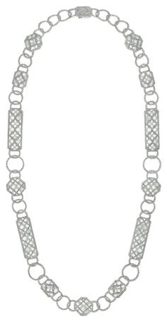Smoking #Necklace from #CafeSociety - #Chanel - #FineJewelry collection in 18K white gold set with 3452 #BrilliantCut - #Diamonds (18.2 cts) and carved rock crystal - July 2014