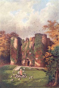 KENT / CASTLES: Tonbridge Castle; Colour antique print , 1907;  size 14.0 x…