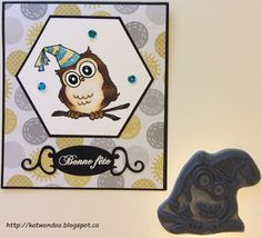 Art Impressions Rubber Stamps: Ai Whoots: Birthday Whoot Set (4125) ... handmade masculine owl card. Who wants cake?