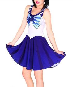 Amazon.com: Pinbo Women Halloween Sailor Moon Cosplay Costume Pleated Stretchy Dress (Blue): Clothing