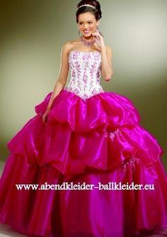Abschlussballkleid - Ballkleid Zweifarbig Pink Weiss