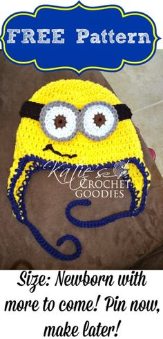Katie's Crochet Goodies and Crafts: Free Minion Crochet Hat Pattern newborn Minion Crochet, Crochet Kids Hats, Crochet Beanie, Crochet Crafts, Crochet Projects, Free Crochet, Crocheted Hats, Minions, Minion Hats