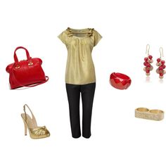 Red and Gold, created by #cdub23 on #polyvore.