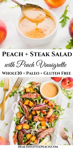 Grilled Peach Steak Salad This Grilled Peach Steaks salad is savory and sweet. It is filled with crisp arugula, grilled peaches, flank steak, bacon and drizzled peach vinaigrette that is perfect for summer. This dish is and Paleo compliant. Grilling Recipes, Paleo Recipes, Steak Recipes, Seafood Recipes, Steak Salat, Whole 30 Salads, Clean Eating Snacks, Healthy Eating, Clean Foods