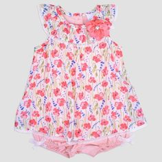 b4a00f848 Baby Girls' Poplin Bubble Dress with Lace Detail Nate & Annee™ Peach 0.  3M : Target