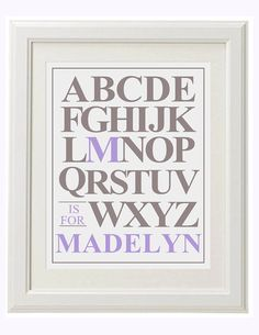 ABC Baby Girl Name Art - Choose your colors - 8x10 - Uppercase