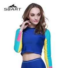 46.68$  Know more  - SBART Women Surfing Windsurf Long Sleeve Tight Tops Wetsuit Clothing Quick-Dry Beach Suit UPF50+ Rashguard Diving Swimsuit