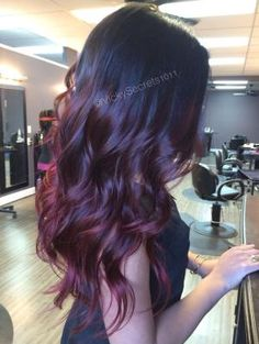 Red violet ombre red ombre long hair curls redhair beauty ombre auburn ombre I absolutely love this! (Burgundy Hair Tips) Long Burgundy Hair, Red Balayage Hair Burgundy, Auburn Balayage, Auburn Ombre, Violet Ombre, Red Violet Hair, Violet Hair Colors, Violet Brown, Black To Purple Ombre