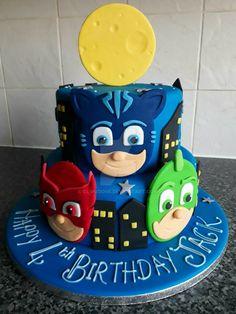 PJ Masks 2 tier cake by clvmoore.deviantart.com on @DeviantArt