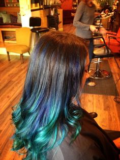 Blue ombré, mermaid hair, by Jessica white, lotus hair body and soul