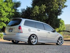 Station wagon, silver, Low Ford Focus mk1, big rims