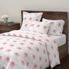 Wyandotte Duvet Cover featuring Elephants in A Row - Pink/Gray leaves AVA by drapestudio | Roostery Home Decor