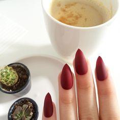 Deep Matte Red Stiletto Nails by pozernails