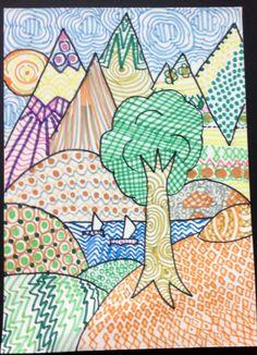 Grade 5 zentangle landscape drawing 28