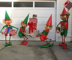 After years of Christmas plywood cutout characters, we decided to follow the 3D trend and build some happy elves for our yard this year.  The elves ar...